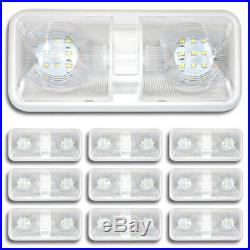 10 NEW RV LED 12v CEILING FIXTURE DOUBLE DOME LIGHT FOR CAMPER TRAILER RV MARINE