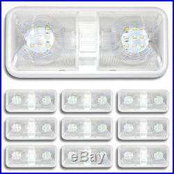 10 X RV LED 12v Fixture Ceiling Camper Trailer Marine Double Dome Light 12 Volt