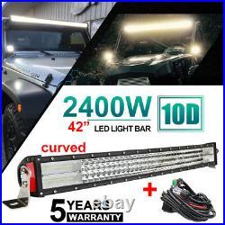 10d 4 Row 42''inch Curved 2400w Led Light Bar Combo Flood Spot Lamp Boat 40 44