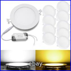 10x Round LED Recessed Ceiling Panel Down Lights Lamp withDriver 3W 9W 12W 15W 18W