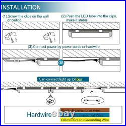 12 Pack T8 4FT LED Shop Light Linkable Ceiling Tube Fixture 24W 6000K Clear