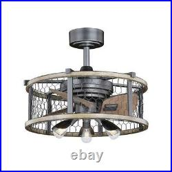 21 Natural Iron withDistressed Wood LED In/Out Ceiling Fan Fandelier withLight Kit