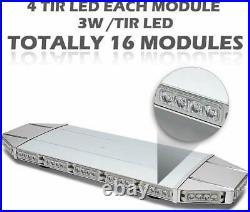 27 Roof Light Bar Emergency Strobe 64LED Beacon Warn Plow Tow Truck Amber White