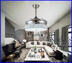 36LED 72W Crystal Invisible Ceiling Fan Light Dining Room Pendant Chandelier