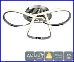 36 Watts Semi-Flush Ceiling Light, Dimmable, Polished Chrome, Warm White