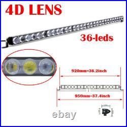 36 inch 4D Slim LED Work Light Bar Single Row Offroad Driving Car Truck 4X4 37