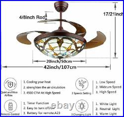 42Ceiling Fan Light Classic Chandelier Remote Retractable 3 Speeds Dimmable