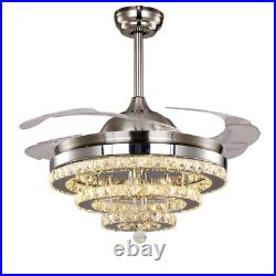42Chrome Crystal 3-Color LED Light Chandelier Remote Invisible Ceiling Fan Lamp