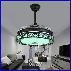 42 Bluetooth LED 7-Color Chandelier Invisible Ceiling Fan Lamp withSpeaker Remote