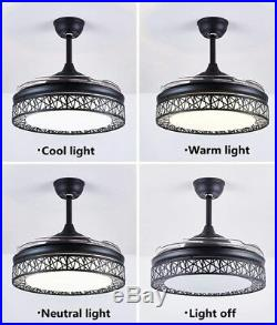 42 Ceiling Fan Retractable Blades LED Crystal Chandelier Light Remote Control