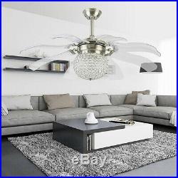 42 Crystal 8-Blades Take-off Ceiling Fan Light Remote Home Chandelier Lamp
