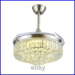 42 Crystal Ceiling Fan Luxury LED Chandelier Remote Control Retractable Blades