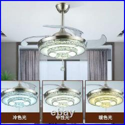 42 Crystal Invisible Ceiling Fan Light Remote Control Home Chandelier Lamp