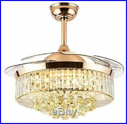 42 Crystal Retractable Acrylic Blade Ceiling Fan Light with Remote Control