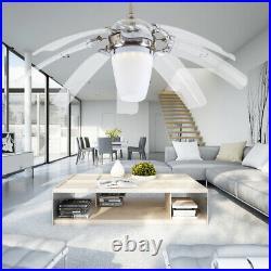 42 Modern 3 Color Retractable Ceiling Fan With Light LED Chandelier Fan Remote