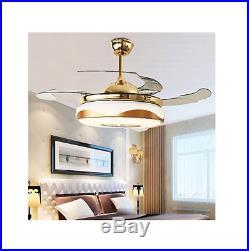 42'' Modern Bluetooth Ceiling Fan Light Remote Music Player Chandelier Fan Lamp
