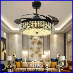42 Retractable Blade Crystal Chandelier Remote Invisible Ceiling Fan LED Light