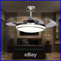 42 Retractable Blades Dimmable LED Ceiling Fan Light Remote Control Lamp