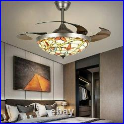 42''Tiffany Invisible Ceiling Fan withLED Light Retro Stained Glass LED Chandelier