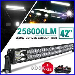 42inch Curved 2560W LED Work Light Bar Spot Flood Combo Driving Lamp Offroad SUV