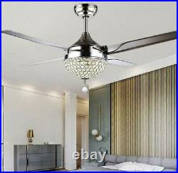 44'' Crystal Ceiling Fan Lamp with LED Light Kits Remote 4 Stainless Steel Blades