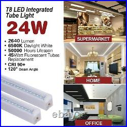 4FT 12 Pack LED Shop Light T8 Linkable Ceiling Fixture 24W Daylight 6000K Clear
