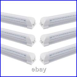 4FT 6 Pack LED Shop Light T8 Linkable Ceiling Tube Fixture 24W Daylight Clear