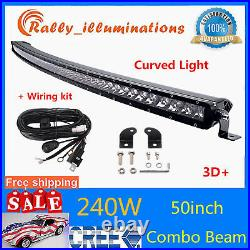 50IN 240W Curved Single Row Slim Led Light Bar Combo Chevy Offroad 250With288w