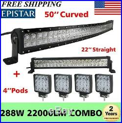50 288W Curved LED Light Bar+ 22in+ 4 48W Pods For Offroad SUV ATV Ford Truck