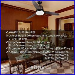 52 Ceiling Fan with 3 Colors LED Light Remote Control Cooling Breeze Home Cafe