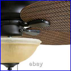 52 In. Sunset Key Tropical Ceiling Fan Outdoor Indoor Quiet Reversible LED light