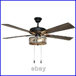 52in 5-Blade Woodgrain Caged Farmhouse LED Lighted Ceiling Fan Pull Chain