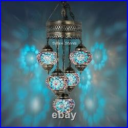 5 Big GLOBES MOSAIC CHANDELIER Turkish Moroccan Handmade Hanging Ceiling, Pendant