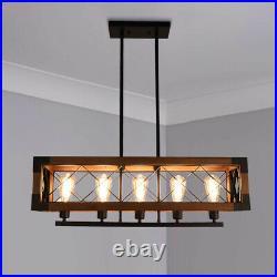 5 Lights Industrial Kitchen Island Light Wood Chandelier Pendant Ceiling Light