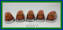 5 Pick-up Cab Roof Clearance Marker Teardrop Amber LED Lights Ford Chevy Dodge
