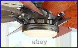 60 Large Bronze LED Ceiling Fan Windmill Light + Remote, Farmhouse Rustic Cabin