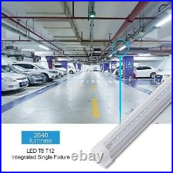 6 Pack 4FT T8 LED Shop Light Linkable Ceiling Tube Fixture 24W 6000K Clear