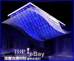 7-Color K9 Crystal Ceiling Light LED Chandelier Remote Control Pendant Lighting