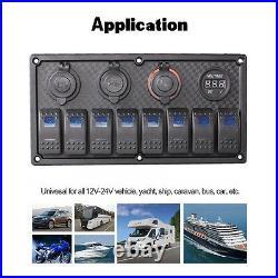 8 Gang Blue Led 12v/24v Rocker Switch Panel Circuit Breaker Car Rv Boat Marine