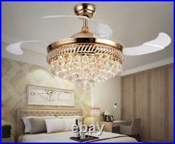 BEST DEAL! 42 Crystal Remote Control Ceiling Fan Light LED Chandelier Lamp
