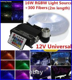 Car 16W RGBW LED Fiber Optic Star Ceiling Lights Kit 270pcs 0.75mm 2M Crystal