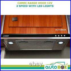 Caravan Range Hood 12 Volt with LED Down Lights Twin Fan Roof Facing Motorhome RV