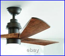 Carved Wooden 3-Blade 60 LED CEILING FAN + REMOTE Industrial Light Rustic Cabin