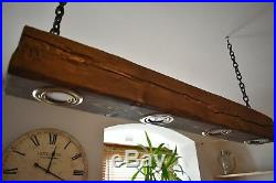 Ceiling Light Vintage Rustic Lamp Wood Hanging Chandelier 4 x LED HANDMADE
