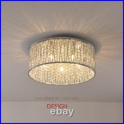 Emilia Large Crystal Drum flush ceiling Light Chrome RRP £295