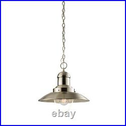 Fisherman Style Pendant Ceiling Light Satin Nickel & Glass, Vintage, Industrial
