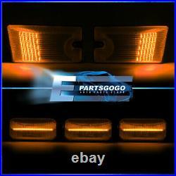 For 03-09 Hummer H2 / SUT SUV Smoke Amber Red LED Top Roof Cab Marker Lights Set