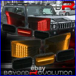 For 2003-2009 Hummer H2 / SUT Smoked Amber Red LED Top Roof Cab Marker Light Kit