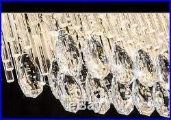 Genuine K9 Crystal LED Rectangular Dinning Room Pendant Ceiling Light Chandelier