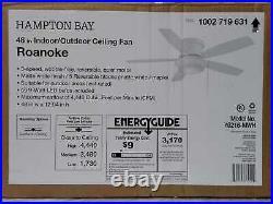 Hampton Bay Roanoke 48 LED Indoor/Outdoor Matte White Ceiling Fan with Light Kit